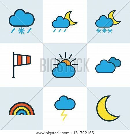 Weather Colored Outlines Set. Collection Of Rainbow, Moonbeam, Freeze And Other Elements. Also Includes Symbols Such As Snow, Overcast, Flag.