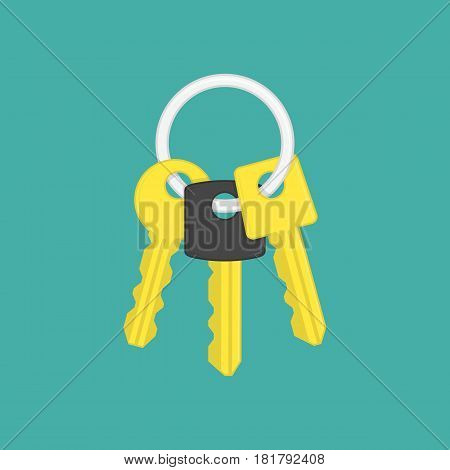 Keys icon vector illustration in modern flat style. Gold key on keyring icon isolated on green background. Security sign. EPS 10.