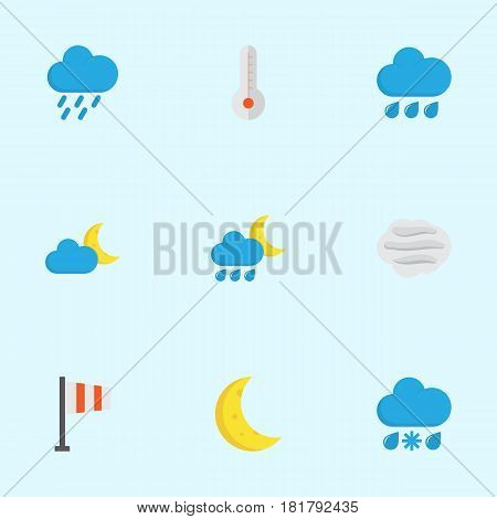 Weather Flat Icons Set. Collection Of Rain, Moon, Banner And Other Elements. Also Includes Symbols Such As Crescent, Hail, Sun.