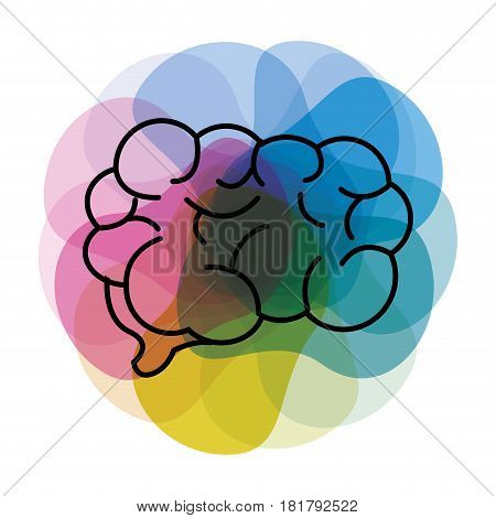 watercolor mental health brain art icon, vector illustration