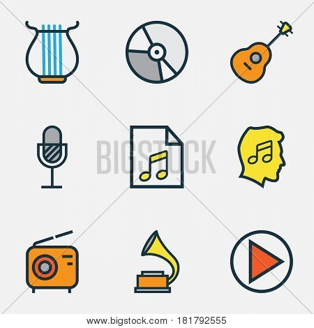 Multimedia Colored Outlines Set. Collection Of Strings, Circle, Harp And Other Elements. Also Includes Symbols Such As Start, Sound, Vinyl.