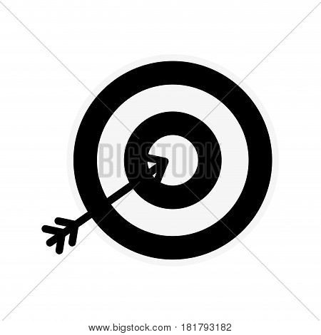 silhouette icon arrow hitting a target, vector illustration