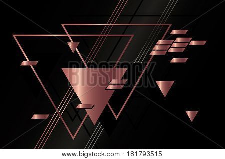 Abstract bronze geometric background vector with triangles.