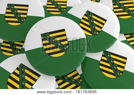 German States Badges: Pile of Saxony Flag Buttons 3d illustration