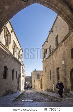 17TH FEBRUARY 2017, RHODES, GREECE - Palace of the Grand Master of the Knights of Rhodes also known as the Kastello is a medieval castle in the city of Rhodes on the island of Rhodes in Greece