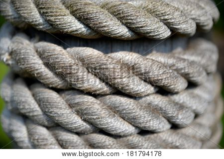 thick weave old rope with visible rupture