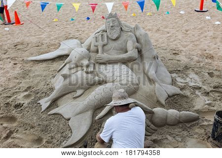 REDCLIFFE, AUSTRALIA - APRIL 14, 2017: Stunning sand sculpture on Suttons Beach during the Redcliffe Festival of Sails an annual event which takes place on Good Friday