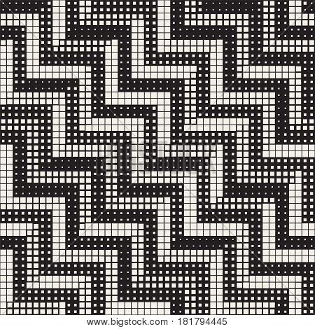 Seamless Irregular Geometric Pattern. Abstract Black and White Modern Halftone Background. Vector Chaotic Rectangles Zigzag Texture