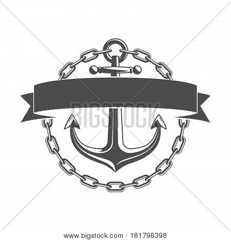 Nautical Anchor with chain and ribbon for your text. Vintage label, emblem template on marine theme. Ship anchor icon isolated on white background. Vector illustration. EPS 10.