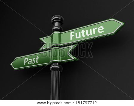 3d Illustration. Past and Future pointers on signpost. Image with clipping path