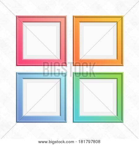 Square color frame set. Empty wooden photo frames collection isolated on light background. Art gallery of colored, modern picture framework on vintage wall. Vector illustration EPS 10.