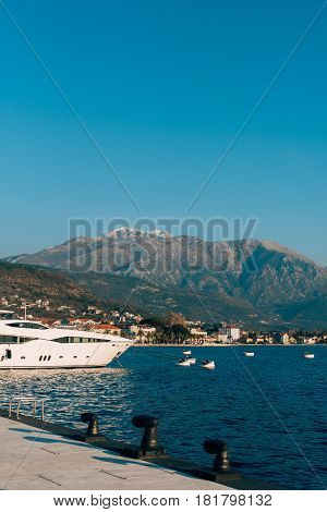 Yacht Porto Montenegro. Elite area of Tivat in Montenegro
