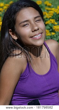 A Cute Smiling Hispanic Peruvian Teen Girl