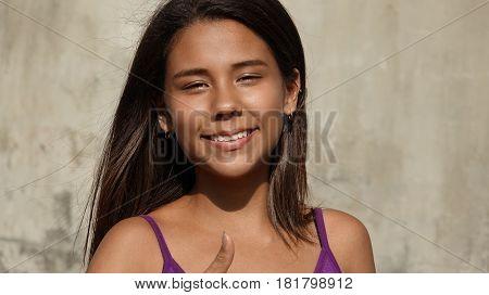 A Pretty Happy Smiling Peruvian Teen Girl