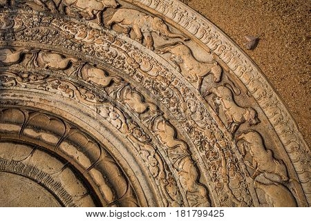 Sacred City of Anuradhapura, moonstone at the Abhayagiri Monastery, most detailed moonstone in Sri Lanka, Asia