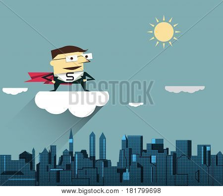 Illustration vector Super Businessman ( boss or manager ) standing on white cloud with cityscape background. Business concept for success business