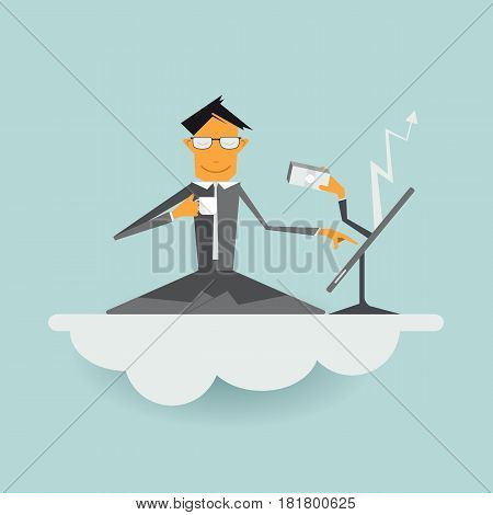 Illustration vector cartoon businessman sitting on cloud with laptop. And relaxing with hot coffee,