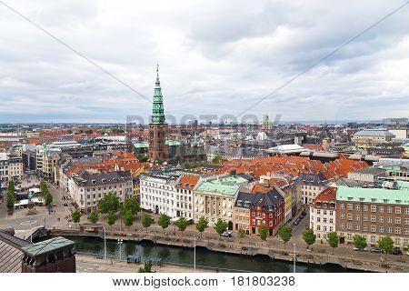 Copenhagen city panorama in summer Denmark. European city life during summertime.