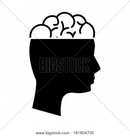 black contour mental health person with brain, vector illustration
