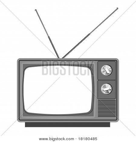 Old tv - television  with blank screen