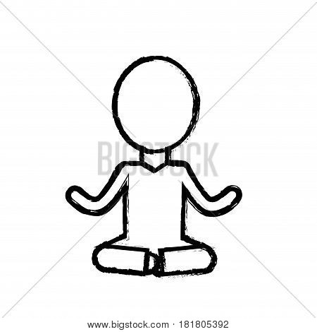 contour mental health pictogram meditation, vector illustration