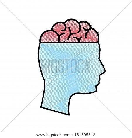 edge mental health person with brain, vector illustration