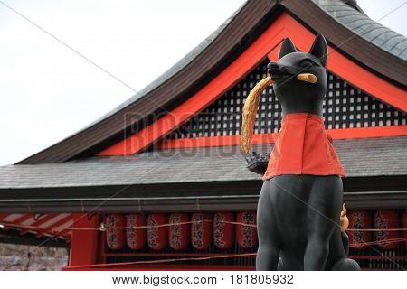 Guardian Fox Of Fushimi Inari Taisha In Kyoto, Japan