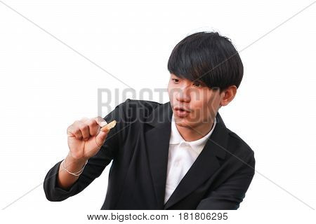Young man handsome glad eat cookie small pieces on white background
