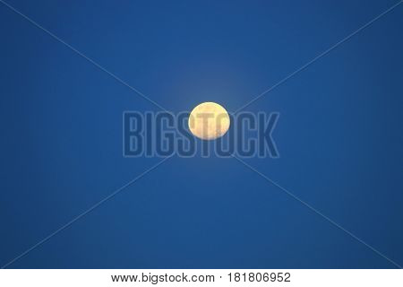 moon beautiful on blue sky with copy space for text