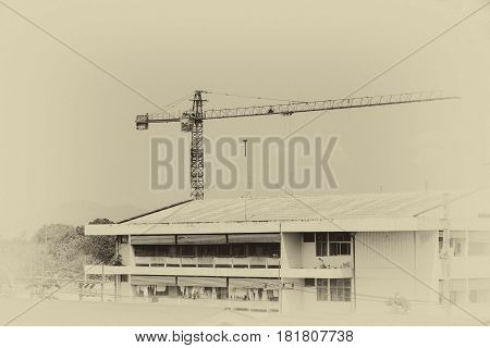 crane in construction building site. vintage tone image