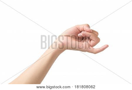 Hand making pinkie promise sign with little finger isolated white background