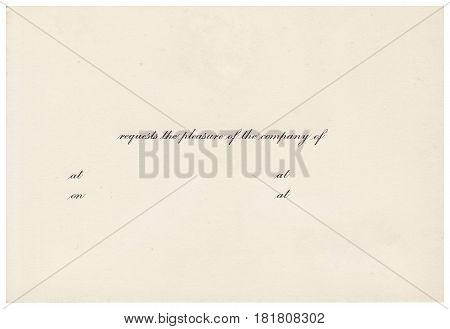 Back of an old postcard. Old postcard isolated on the white background. Can be used as background