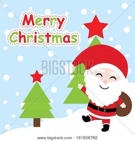 Xmas card with cute Santa Claus vector cartoon on Xmas tree background, Xmas postcard, wallpaper, and greeting card, vector illustration