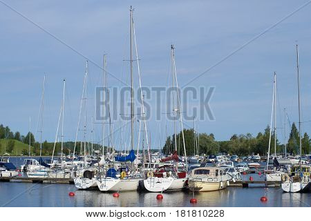 LAPPEENRANTA, FINLAND - AUGUST 21, 2016: Marina of Lappeenranta on the Saimaa lake. August morning