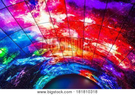 LAS VEGAS - JAN 08 : 3D video wall at the LG booth at the CES show in Las Vegas on January 08 2017 CES is the world's leading consumer-electronics show.