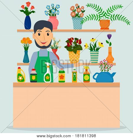 Flower shop florist or male salesperson with houseplants and potted flowers. EPS10 vector illustration in flat style.