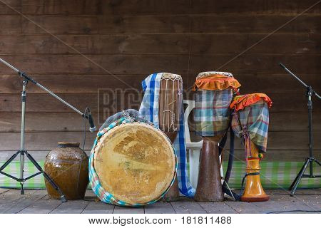 drums with Thai traditional percussion music instrument for retro concert.