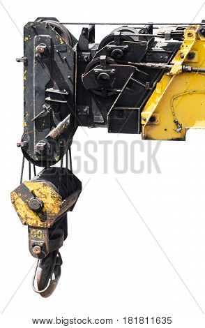 Hook lifting mechanism on white isolated background