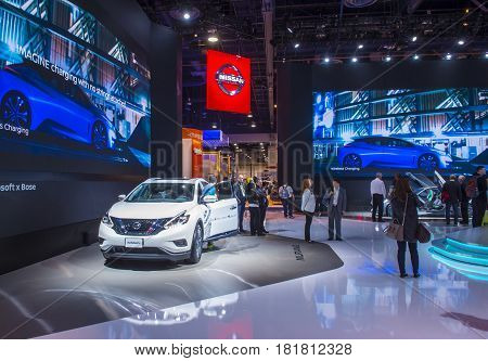 LAS VEGAS - JAN 08 : The Nissan booth at the CES Show in Las Vegas Navada on January 08 2017. CES is the world's leading consumer-electronics show.