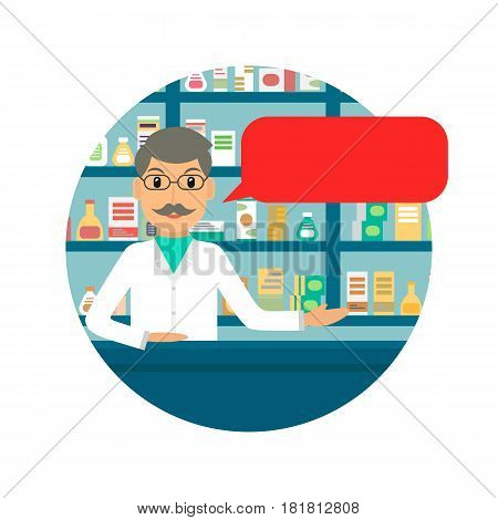 Man pharmacist with speech bubble at the counter against shelves with drugs and medicines. Drugstore male salesperson at work. Vector illustration in flat style.