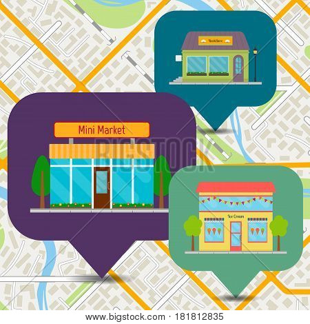 Bookstore ice cream shop and mini market icons on city map. Building facades set. EPS10 vector illustration in flat style.