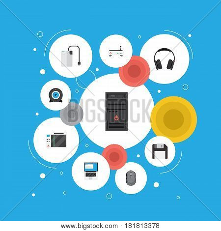 Flat Laptop, Slot Machine, Diskette And Other Vector Elements. Set Of Notebook Flat Symbols Also Includes Modem, Game, Laptop Objects.