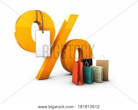Percent with gift packages, 3d Illustration isolated Black