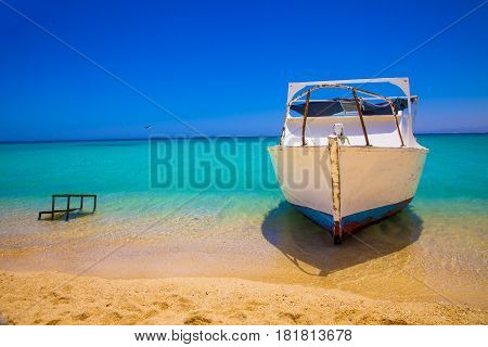 Egypt tropical scene with beach and boot.