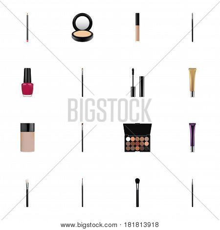 Realistic Eye Paintbrush, Cosmetic Stick, Multicolored Palette And Other Vector Elements. Set Of Maquillage Realistic Symbols Also Includes Eyeshadow, Lip, Tool Objects.