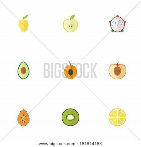 Flat Peach, Pawpaw, Lime And Other Vector Elements. Set Of Dessert Flat Symbols Also Includes Apricot, Avocado, Pawpaw Objects.