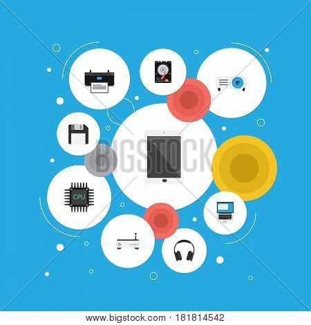 Flat Palmtop, Laptop, Hard Disk And Other Vector Elements. Set Of Laptop Flat Symbols Also Includes Headphone, Unit, Earphone Objects.