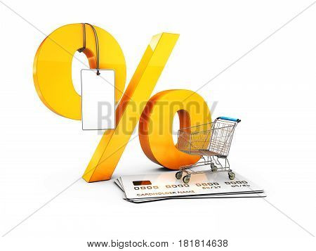 Trolley On The Credit Cards And Percent With Label, Special Discount Template. 3D Illustration Isola