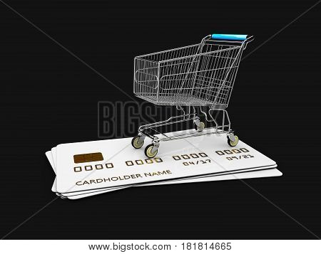 Trolley On The Credit Cards. 3D Illustration Isolated Black