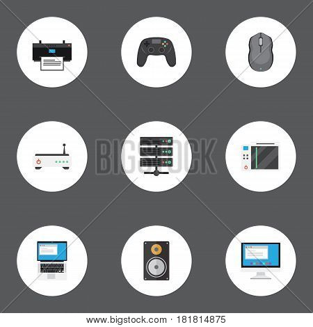 Flat Printing Machine, Router, Slot Machine And Other Vector Elements. Set Of Notebook Flat Symbols Also Includes Screen, Mouse, Printing Objects.